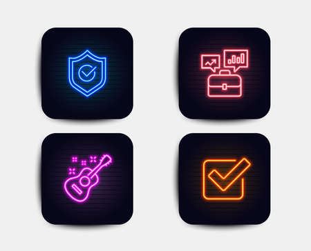 Neon glow lights. Set of Business portfolio, Approved shield and Guitar icons. Checkbox sign. Job interview, Protection, Acoustic instrument. Approved tick.  Neon icons. Glowing light banners. Vector Illustration