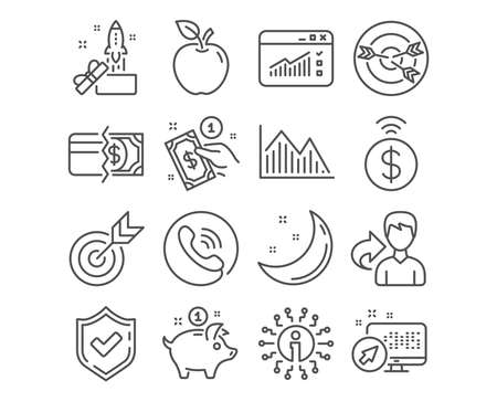 Set of Target, Contactless payment and Payment method icons. Investment graph, Web traffic and Innovation signs. Targeting, Saving money symbols. Targeting, Give money, Investment infochart. Vector Illustration