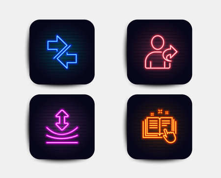 Neon glow lights. Set of Resilience, Synchronize and Refer friend icons. Technical documentation sign. Elastic, Communication arrows, Share. Manual.  Neon icons. Glowing light banners. Vector Illustration