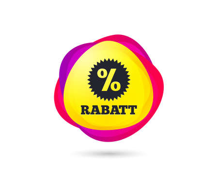 Gradient shopping banner. Rabatt - Discounts in German sign icon. Star with percentage symbol. Sales tag. Abstract template for design. Vector Standard-Bild - 109898707