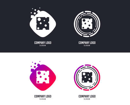 Logotype concept. Cheese sign icon. Slice of cheese symbol. Square cheese with holes. Logo design. Colorful buttons with icons. Vector