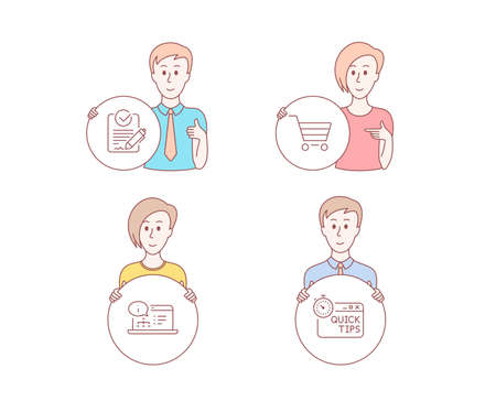 People hand drawn style. Set of Market sale, Online documentation and Rfp icons. Quick tips sign. Customer buying, Web engineering, Request for proposal. Helpful tricks.  Character hold circle button Illustration