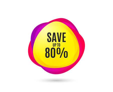 Sparen Sie bis zu 80%. Rabatt-Angebots-Preis-Zeichen. Sonderangebot-Symbol. Verkaufsetikett mit Farbverlauf. Abstrakte Einkaufsfahne. Vorlage für die Gestaltung. Vektor Vektorgrafik