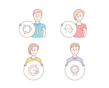 People hand drawn style. Set of Face scanning, Recycle and 24h delivery icons. Certificate sign. Faces detection, Recycling waste, Stopwatch. Verified award.  Character hold circle button. Vector Ilustração