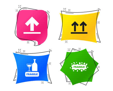 Fragile icons. Delicate package delivery signs. This side up arrows symbol. Geometric colorful tags. Banners with flat icons. Trendy design. Vector Illustration
