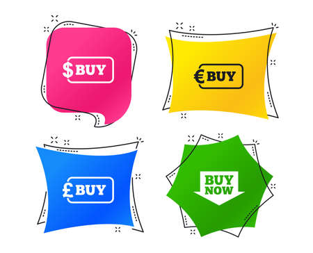 Buy now arrow icon. Online shopping signs. Dollar, euro and pound money currency symbols. Geometric colorful tags. Banners with flat icons. Trendy design. Vector Illustration