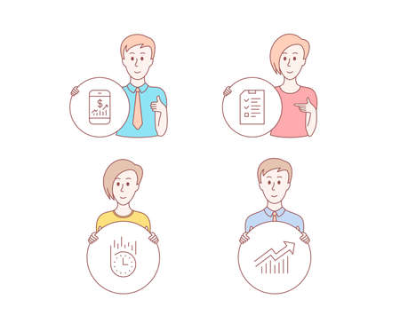 People hand drawn style. Set of Interview, Fast delivery and Mobile finance icons. Demand curve sign. Checklist file, Stopwatch, Phone accounting. Statistical report.  Character hold circle button Ilustrace