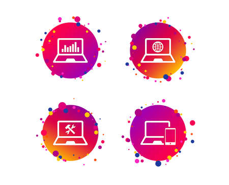 Notebook laptop pc icons. Internet globe sign. Repair fix service symbol. Monitoring graph chart. Gradient circle buttons with icons. Random dots design. Vector Illustration