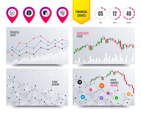 Financial planning charts. Check or Tick icon. Phone call and Information signs. Support communication chat bubble symbol. Cryptocurrency stock market graphs icons. Trendy chart design. Vector Illusztráció
