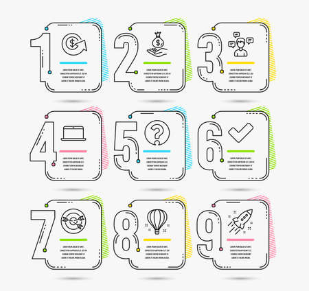 Infographic template with 9 options timeline. Set of Air balloon, Question mark and Targeting icons. Laptop, Conversation messages and Income money signs. Timeline Vector Ilustração