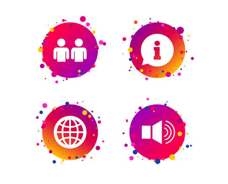 Information sign. Group of people and speaker volume symbols. Internet globe sign. Communication icons. Gradient circle buttons with icons. Random dots design. Info Vector