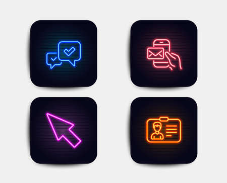 Neon glow lights. Set of Messenger mail, Approve and Mouse cursor icons. Identification card sign. New e-mail, Accepted message, Click arrow. Person document.  Neon icons. Glowing light banners Illustration