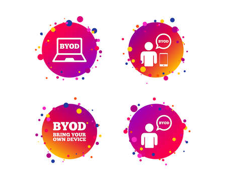 BYOD icons. Human with notebook and smartphone signs. Speech bubble symbol. Gradient circle buttons with icons. Random dots design. Vector Ilustrace