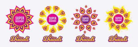Diwali sales banners. Super discount symbol. Sale sign. Advertising Discounts symbol. Diwali hindu festival of lights. Shopping tags. Vector