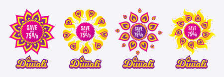 Diwali sales banners. Save up to 75%. Discount Sale offer price sign. Special offer symbol. Diwali hindu festival of lights. Shopping tags. Vector Illustration