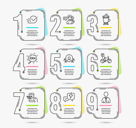Infographic template with numbers 9 options. Set of Checkbox, Bicycle parking and Education icons. Lightning bolt, People and Business targeting signs. Latte coffee, Idea and Human symbols. Vector