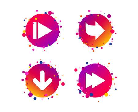 Arrow icons. Next navigation arrowhead signs. Direction symbols. Gradient circle buttons with icons. Random dots design. Arrow vector