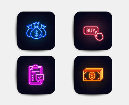 Neon glow lights. Set of Check investment, Buy button and Checklist icons. Banking sign. Business report, Online shopping, Survey. Money payment.  Neon icons. Glowing light banners. Vector