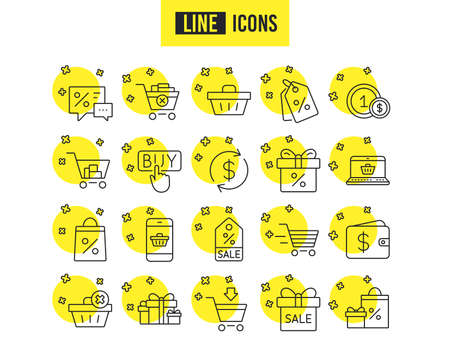 Shopping line icons. Gifts, Presents and Sale offer signs. Shopping cart, Delivery and Tags symbols. Speech bubble, Discount and Wallet. Online buying. Quality futuro design icons. Editable stroke