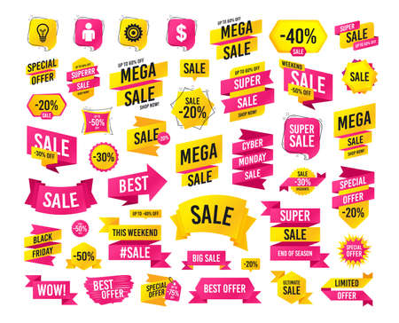 Sale banner. Super mega discounts. Business icons. Human silhouette and lamp bulb idea signs. Dollar currency and gear symbols. Black friday. Cyber monday. Sale Vector  イラスト・ベクター素材