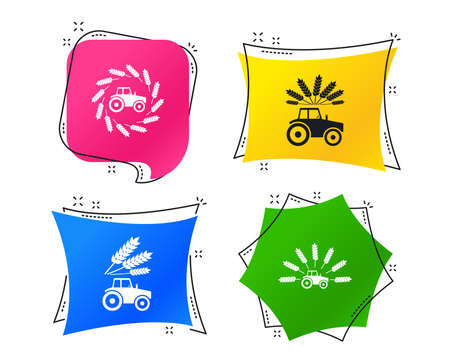 Tractor icons. Wreath of Wheat corn signs. Agricultural industry transport symbols. Geometric colorful tags. Banners with flat icons. Trendy design. Vector Standard-Bild - 111103904