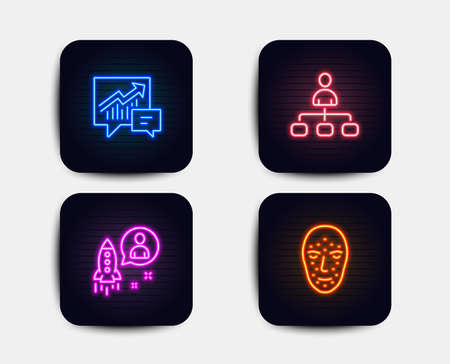 Neon glow lights. Set of Management, Accounting and Startup icons. Face biometrics sign. Agent, Supply and demand, Developer. Facial recognition.  Neon icons. Glowing light banners. Vector