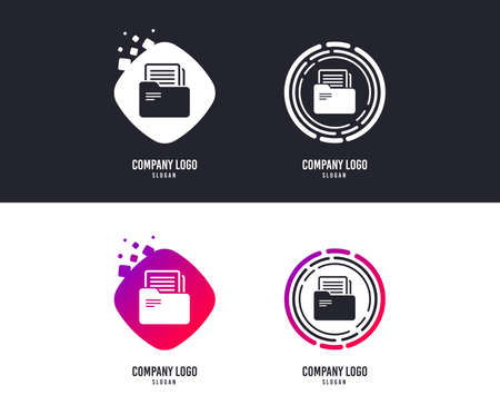 Logotype concept. Document folder sign. Accounting binder symbol. Bookkeeping management. Logo design. Colorful buttons with icons. Vector Stock Vector - 109898731