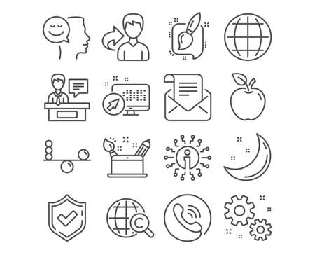 Set of Good mood, Creativity concept and Balance icons. Work, International Сopyright and Painting brush signs. Mail newsletter, Globe and Exhibitors symbols. Vector Çizim