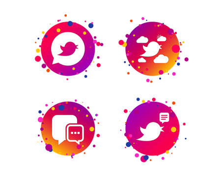 Birds icons. Social media speech bubble. Short messages chat symbol. Gradient circle buttons with icons. Random dots design. Vector