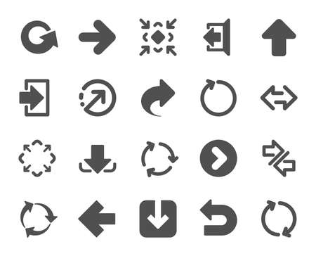 Arrows icons. Set of Download or Share, Synchronize and Recycle signs. Undo, Refresh arrows and Login symbols. Sign out, Next and Upload. Universal share Arrow elements. Quality design element