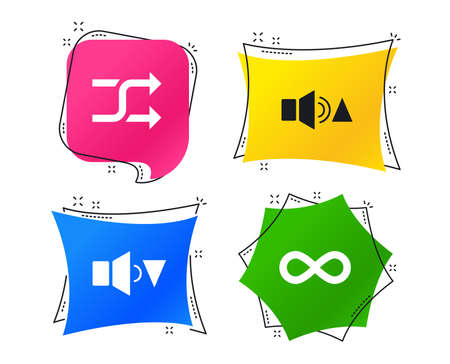 Player control icons. Sound louder and quieter signs. Dynamic symbol. Shuffle random and repeat loop. Geometric colorful tags. Banners with flat icons. Trendy design. Vector Illustration