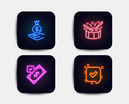 Neon glow lights. Set of Accepted payment, Income money and Drums icons. Confirmed sign. Bank transfer, Savings, Drumsticks. Accepted message.  Neon icons. Glowing light banners. Vector