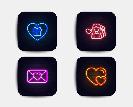Neon glow lights. Set of Romantic gift, Woman love and Valentine icons. Hearts sign. Surprise with love, Romantic people.  Neon icons. Glowing light banners. Vector Vettoriali