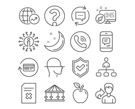Set of Update comments, Face scanning and Delete file icons. Refund commission, Question mark and Carousels signs. Message, World statistics and Management symbols. Vector