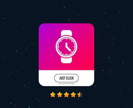 Wrist Watch sign icon. Mechanical clock symbol. Men hand watch. Web or internet icon design. Rating stars. Just click button. Vector Illustration
