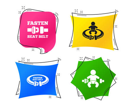 Fasten seat belt icons. Child safety in accident symbols. Vehicle safety belt signs. Geometric colorful tags. Banners with flat icons. Trendy design. Vector Çizim