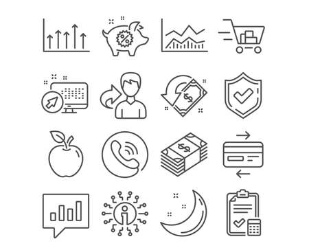 Set of Piggy sale, Usd currency and Trade infochart icons. Credit card, Accounting checklist and Shopping cart signs. Analytical chat, Growth chart and Cashback symbols. Vector Illustration