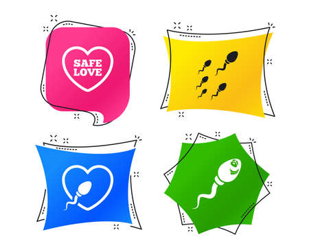 Sperm icons. Fertilization or insemination signs. Safe love heart symbol. Geometric colorful tags. Banners with flat icons. Trendy design. Vector Illustration