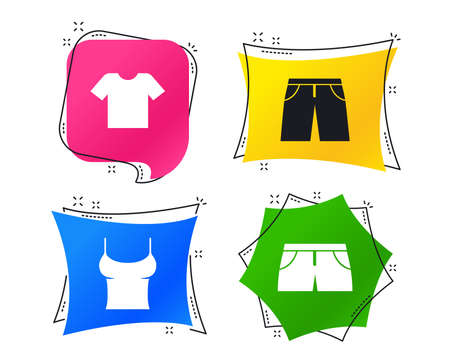 Clothes icons. T-shirt and pants with shorts signs. Swimming trunks symbol. Geometric colorful tags. Banners with flat icons. Trendy design. Vector