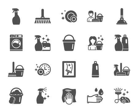 Limpieza de iconos. Señales de lavandería, esponja y aspiradora. Lavadora, servicio de limpieza y símbolos de equipo de limpieza. Limpieza de ventanas y limpie. Elemento de diseño de calidad. Estilo clásico. Vector Ilustración de vector