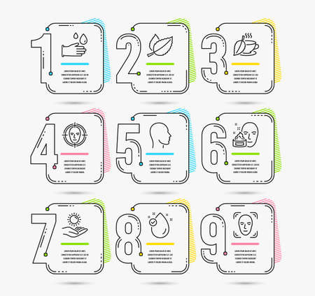 Infographic template with numbers 9 options. Set of Face detect, Mint leaves and Head icons. Sun protection, Vitamin e and Face cream signs. Mint tea, Rubber gloves symbols. Vector