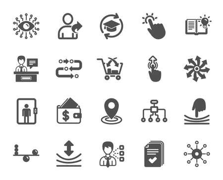 Iconos de inteligencia artificial, Equilibrio y Recomendar a un amigo. Rótulos de Educación Continua, Metodología y Expositores. Deslizar hacia arriba, los iconos de inteligencia artificial y elástica. Vector Ilustración de vector