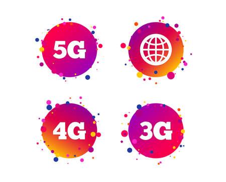 Icone di telecomunicazioni mobili. Simboli della tecnologia 3G, 4G e 5G. Segno del globo del mondo. Pulsanti cerchio sfumato con icone. Design a punti casuali. Vettore