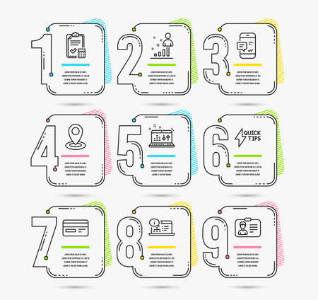 Infographic template with numbers 9 options. Set of Stats, Location and Quickstart guide icons. Smartphone notification, Accounting checklist and Credit card signs. Timeline Vector Illustration