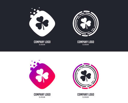 Logotype concept. Clover with three leaves sign icon. Trifoliate clover. Saint Patrick trefoil symbol. Logo design. Colorful buttons with icons. Vector