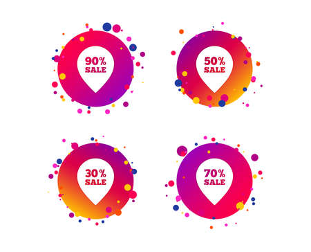 Sale pointer tag icons. Discount special offer symbols. 30%, 50%, 70% and 90% percent sale signs. Gradient circle buttons with icons. Random dots design. Vector