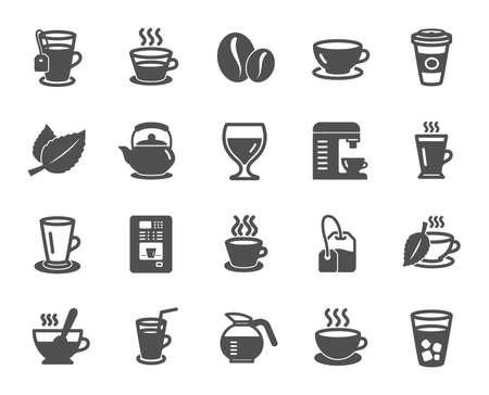 Koffie en thee pictogrammen. Set van cappuccino, sap met ijs en latte borden. Theepot, koffiepot en warme drank met stoompictogrammen. Muntblad, kruidendrank en koffieautomaten symbolen. Kwaliteitsontwerpelement