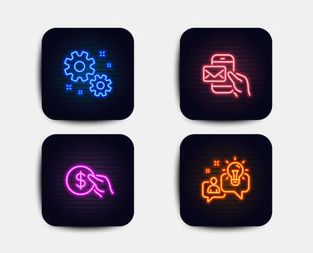 Neon glow lights. Set of Payment, Messenger mail and Work icons. Idea sign. Usd coin, New e-mail, Settings. Solution.  Neon icons. Glowing light banners. Vector