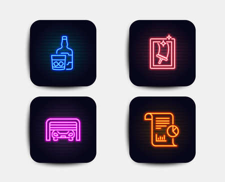 Neon glow lights. Set of Window cleaning, Parking garage and Whiskey glass icons. Report sign. Housekeeping cleaning service, Automatic door, Scotch drink. Work analysis. Neon icons banners. Vector