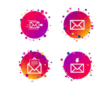 Mail envelope icons. Message document delivery symbol. Post office letter signs. Inbox and outbox message icons. Gradient circle buttons with icons. Random dots design. Vector Illustration